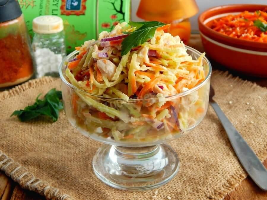 Салат с курицей, грибами и корейской морковью